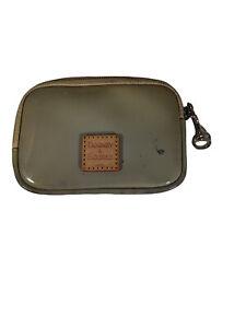 Dooney & Bourke Patent Leather Zip Wallet With Clear ID window Beige