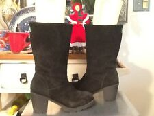 Cougar 'Marni' Black Suede Mid Calf Side Zip Winter Boots Women's 9 M