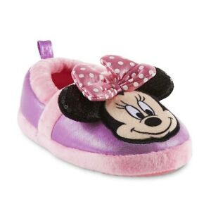 MINNIE MOUSE Plush Slippers w/Pink Bow & Sequin Ears NWT Toddlers Sz. 5-6 or 7-8