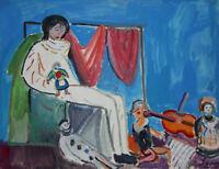Pierrot and Becassine 1 - Robert Savary - Painting Original - Gouache
