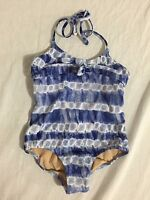 Crewcuts 1-Piece Halter Bathing Suit Swimsuit Blue & White Baby Girls Size 3