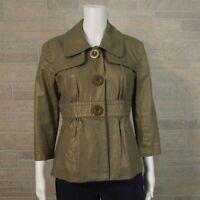 Mac & Jac Misses 10 Blazer Jacket Metallic Gold Pleated Peplum Faux Button Snap