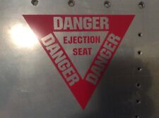 US AIR FORCE DANGER EJECTION SEAT MILITARY AIRCRAFT PLACARD DECALS SET OF 2 !
