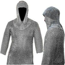Museum Replica Handmade Medieval Chain Mail Shirt Coif Set New