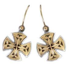 Gerochristo 1353 ~ Solid Gold & Silver Medieval  Maltese Cross Earrings
