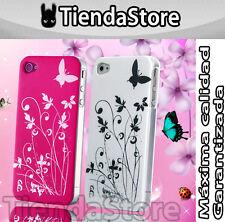 PACK 2 EN 1 Funda carcasa GARDEN compatible iPhone 4 / 4 S BLANCA Y ROSA