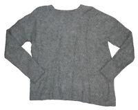 Vince Side Slit Hem Crew Neck Wool Bend Women's Sweater M NWT Mid Grey