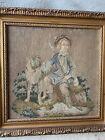 "Antique Vintage Tapestry Gold Frame Shepherd Blond Blue Boy with Dog 17"" x 17"""