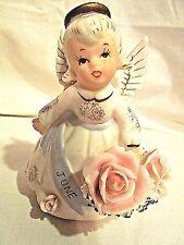 Lefton 3332 June Birthday Angel Figurine Porcelain Hand Painted