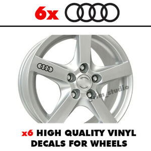 6x AUDI RINGS Wheel Car Sticker Decal Graphic S line A3 A4 A5 A6 R8 Q5 Q7