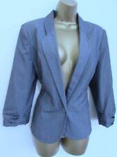 Primark Damen Grau Smart Blazer Anzug Jacke Größe 14 gefüttert 3/4 Ärmel