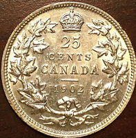 1902 CANADA SILVER 25 CENTS EDWARD VII SILVER QUARTER COIN - Fantastic example!