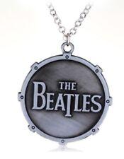 "The Beatles Pendant 20"" Necklace + Chain Rock Music 2"" dia Round Silver Tone PLN"