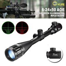 CVLIFE Optics Hunting Rifle Scope 6-24x50 AOE Red & Green Crosshair Gun Scopes