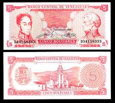 World Paper Money - Venezuela 5 Bolivares 1989 Series D8 @ Crisp UNC