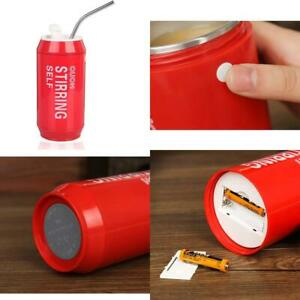 Self Stirring Auto Magnetic Mug Creative Can Mixing Cup w/ Stainless Steel Straw