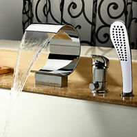 Modern Deck Mounted Waterfall Tub Filler Faucet with Hand Shower in Chrome