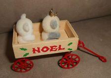 """Noel"" Teddy Bear Wood/Metal Cart Christmas Holiday Ornament - Cute!"