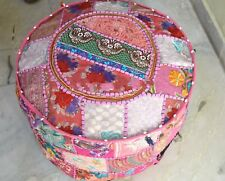 Round Ottoman Pouf Cover Embroidered Patchwork Ethnic Floral Indian Pink Pouf