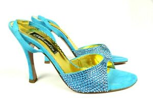 Claudio Milano Francesco Saco Womens Blue Shoes Crystal Suede $420 Made in Italy