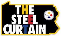 """Pittsburgh Steelers """"THE STEEL CURTAIN"""" Word-Mark on State of PA Type NFL MAGNET"""