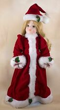 """Collector's Porcelain Christmas Doll With Holly Leaves 14"""" Blond Hair Green Eyes"""