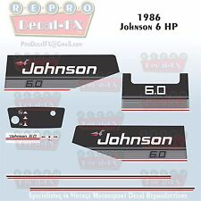1986 Johnson 6 HP Sea-Horse Outboard Reproduction 9 Piece Marine Vinyl Decals