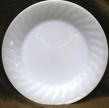 "FIRE KING OVEN WARE White MILK GLASS 7 3/4"" round SALAD Lunch BREAD PLATE Swirl"
