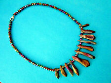 Natural Colourful Titanium Druzy Faceted Beads & Crystal Necklace (nk1638)
