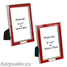 Photo Frame in Red Enamel on Silver Plate incls Personalised Engraving