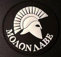SPARTAN MOLON LABE US ARMY USA ISAF MORALE MILSPEC SWAT PVC GITD HOOK PATCH
