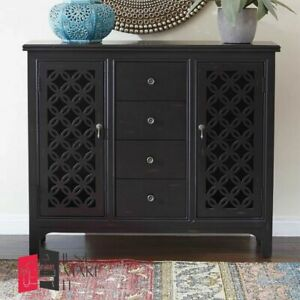 MADE TO ORDER Hand Carved Indian Handmade Solid Wood Black Sideboard Floral