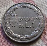 Buono da 1 Lira Nichelio - Stemma Coronato e Italia Seduta 1922 R - Rara -nr.534