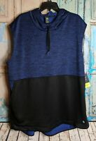XERSION Mens XXL Athletic Sweatshirt Hoodie Sleeveless Blue Workout Front Pouch
