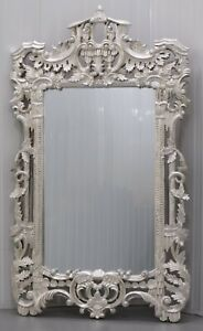 STUNNING CONTEMPORARY SILVER FULLY CARVED CHINESE WALL MIRROR  FOLIATE DETAIL