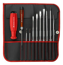 PB Swiss Tools PB 9216.Red Screwdriver Set Slotted/Phillips/PoziDriv/Awl in Roll