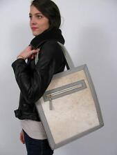 HARE + HART CRAWFORD PONY HAIR FUR GREY CALFSKIN LEATHER LARGE TOTE PURSE BAG