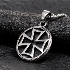 Cross Pendant Ball Bead Chain Necklace Stainless Steel Black Enamel Dog Tag