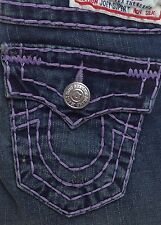 New with Tags Women's True Religion Joey Dark Drifter Lavender Jeans RRP $319USD