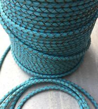 Baby Blue Round Bolo Leather Braided Cord - 4 mm - 3 Feet - Blue Premium Leather