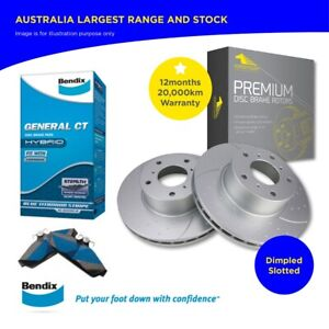 Front Slotted Disc Rotor + Bendix Brake Pad for TERRITORY SX (TS TX) SY SZ 04-16
