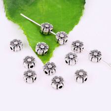 Sided Spacer Beads Jewelry Finding 6x3mm 50pcs Tibetan Silver Flower Flat Double
