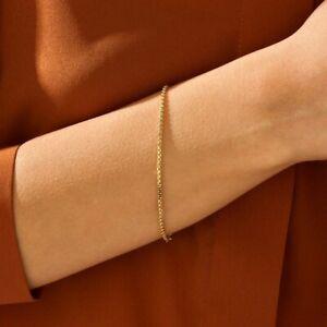 Solid Gold Box Chain Bracelet, Box Gold Chain Bracelet, Gold Box Chain Bracelet