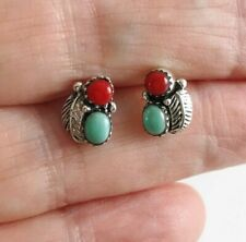 Small Navajo Turquoise and Red Coral 925 Sterling Silver Stud Earrings