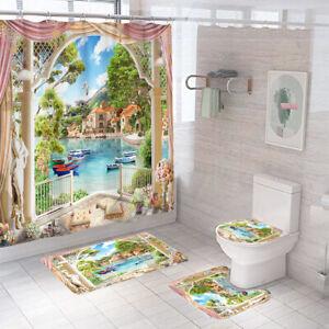 Scenery Shower Curtain Bathroom Rug Set Bath Mat Non-Slip Toilet Lid Cover