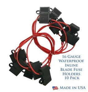 10 Pack 16 Gauge ATO / ATC Waterproof In-Line Blade Fuse Holder - USA Made