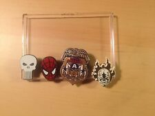 Marvel Plastic Pins set of 4 Spiderman Ghost Rider Punisher Captain America NM