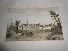 1836 ORIGINAL ANCIENT STEEL ENGRAVING VIEW OF BALE CROATIA