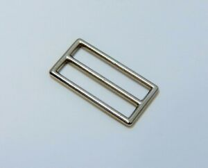 Vintage - Qty (6) Silver tone Bag Pack Nylon Strap Fixed Bar Slide Buckle