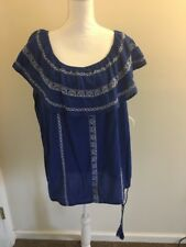 Ruff Hewn Woman Cuban Traveler Blue Thin Sleeveless Shirt Round Neck Size XL